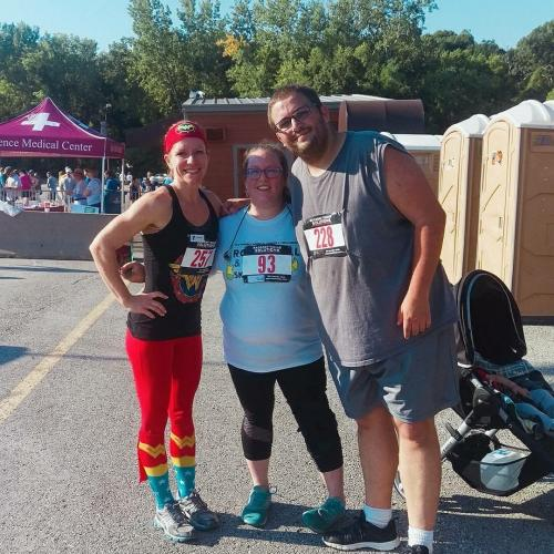 Levi at the 2017 Rock, Roll & Run 5K, pictured with his wife, Krystle (center), and Y personal trainer Erin (far left)