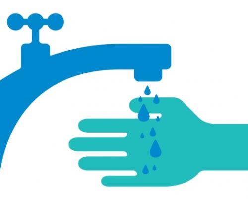 hand-washing graphic of water running out of a faucet onto hands