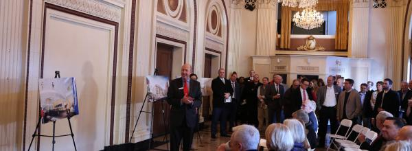 Donors and Y leaders gathered in the historic lobby of the Lyric for a VIP reception prior to the community groundbreaking celebration