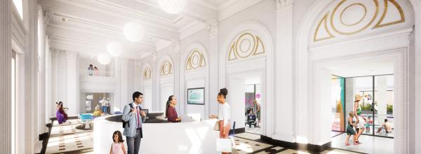 The historic lobby of the Lyric will be restored as part of the new Downtown YMCA.