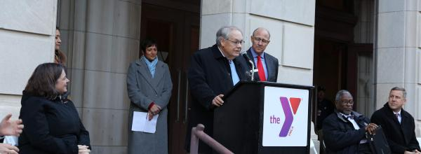 Frank Kirk speaks at the Downtown YMCA groundbreaking celebration.